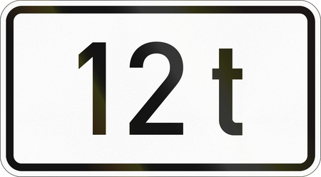 Supplementary road sign used in Germany - 12 tons. Banco de Imagens