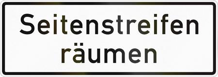 독일 - 맑은 어깨에 사용되는 보충 도로 표지판.