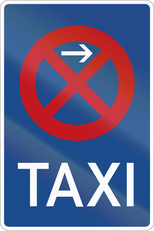 German road sign - Taxi rank - No Stopping. Stock Photo