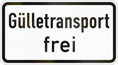 Supplementary road sign used in Germany - Slurry transport allowed. Stock Photo