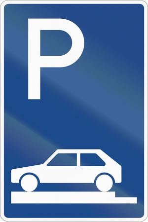 German road sign - Parking position at the sidewalk.