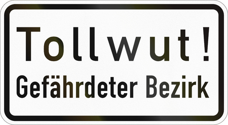 Supplementary road sign used in Germany - Rabies - Endangered area. Stock Photo