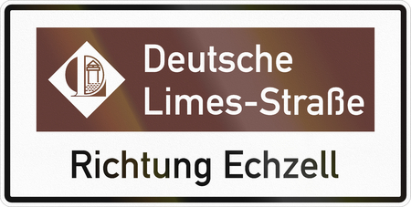 German road sign about the German Limes Road with Direction Echzell. Stok Fotoğraf
