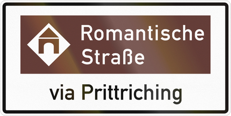 German road sign about the Romantic Road via Prittriching.