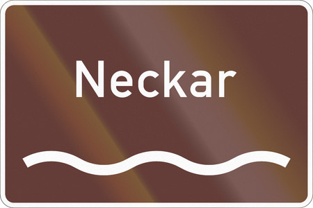 German road sign marking the river Neckar. Stock Photo