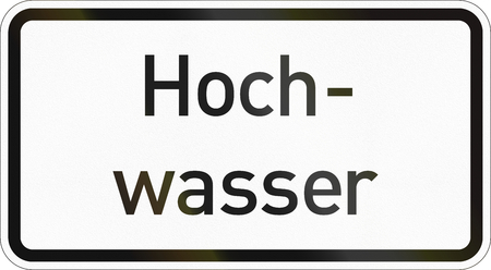Supplementary road sign used in Germany - Flood. Stock Photo