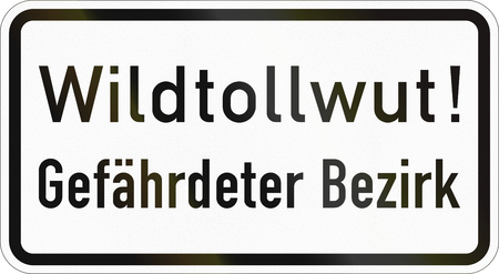 Supplementary road sign used in Germany - Wildlife rabies - Endangered area.