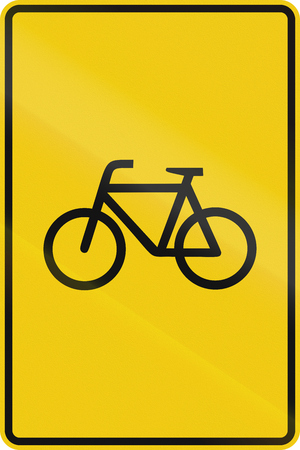 German indication sign for route for cyclists.