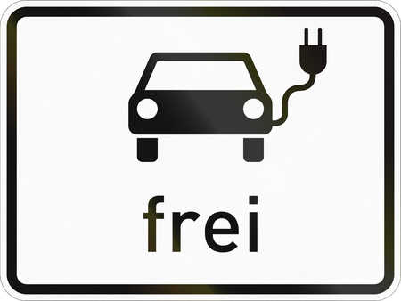 Supplementary road sign used in Germany - Electric vehicles allowed. Stock Photo