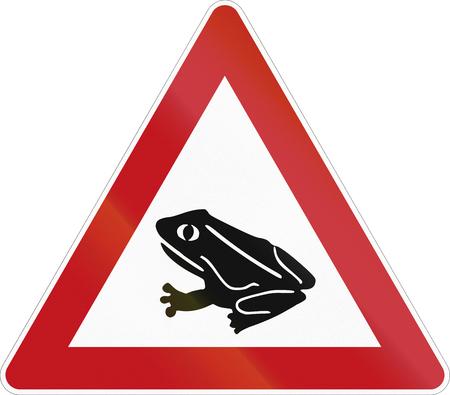 German warning road sign - Amphibian migration.