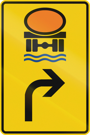 German direction sign for transport of goods dangerous for water reserve. Stock Photo
