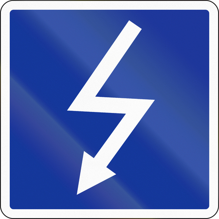 German inland water navigation sign - High voltage line crossing. Stock Photo