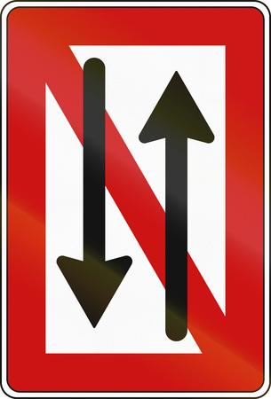 German inland water navigation sign -  No passing or opposing. Stockfoto