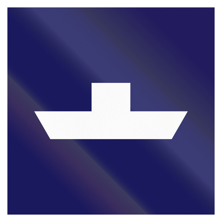 Maritime fairway sign of Finland - Free ferry.