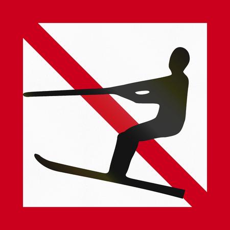 Maritime fairway sign of Sweden - Water skiing forbidden. Stock Photo