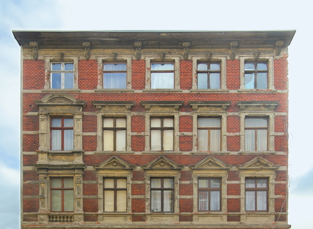 Desolate facade of a house listed as monument in Magdeburg. 写真素材