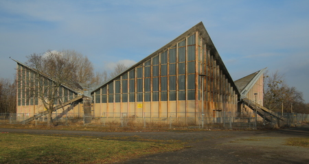 MAGDEBURG, GERMANY - FEB 19 2018 : Abandonded multi-purpose hall built after plans of Ulrich Muether. The building is called Hyparschale. Editorial