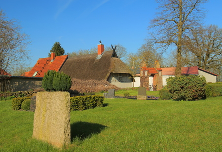 View on group of historic buildings, listed as monuments in Wusterhusen, Germany.