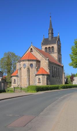 St. Sebastian Church in Lemsdorf, Magdeburg, Germany. Stock Photo