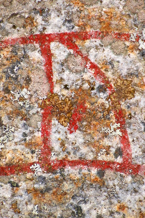 Close up of the Scandinavian rune Ur from an ancient runestone.