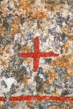 Close up of cross sign from an ancient runestone. Stockfoto