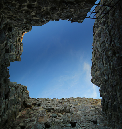 Unusual upward view from a dungeon in Brahehus caste, Jonkopings lan, Sweden. Stock Photo