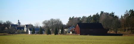 Panoramic shot of rural landscape in Jonkopings lan in Sweden. Zdjęcie Seryjne
