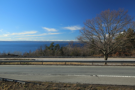 View on motorway E4 and lake Vattern in Sweden. Zdjęcie Seryjne
