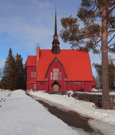 Outside view of Norsjo Church in Lapland in winter .