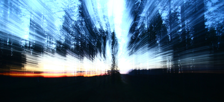 Conceptual shot with motion blur from zooming, in a forest.