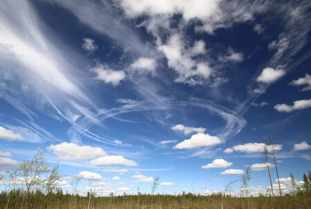 Vapor trails after military practice flights over forest. Stock Photo