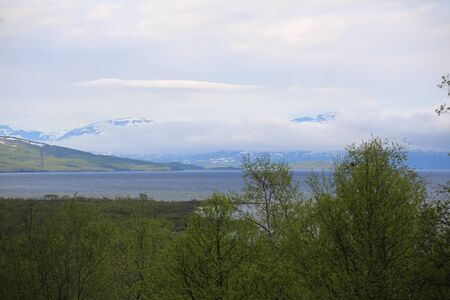 View over Abisko National Park and Tornetrask in Sweden.