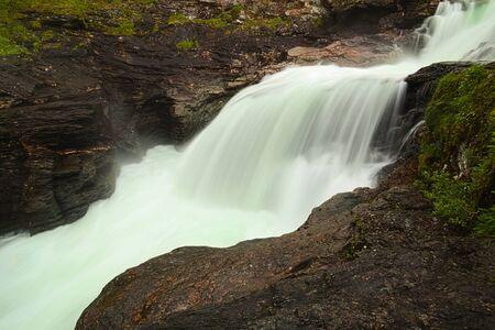 Long exposure shot of Gaustafallet waterfall in Jamtland, Sweden.