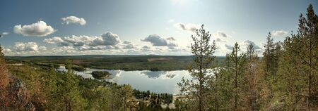 Panoramic view from Tjarnstanberget near Mala in Northern Sweden. Stock Photo