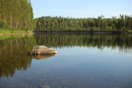 The stream Skelleftealven in Vasterbotten, Northern Sweden. 스톡 콘텐츠