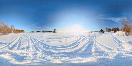 Spherical panorama of frozen solid lake Norsjon in Vasterbotten, Sweden. Equirectangular projection was used. Imagens