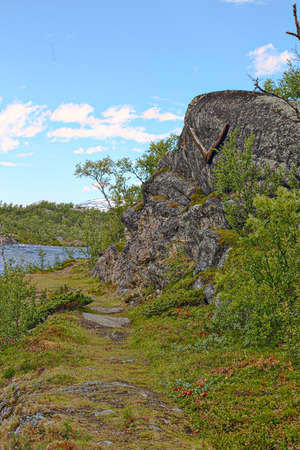 Remains of ancient boat building site in Tornehamn, with a part of a wooden ships frame on the rock.