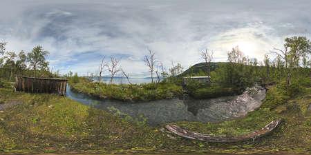 Spherical panorama of abandoned shacks in Gohkasjohka dekta, Norrbotten, Sweden. Equirectangular projection is used.