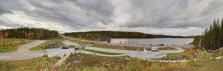 View over resting place at the polar circle near Jokkmokk.