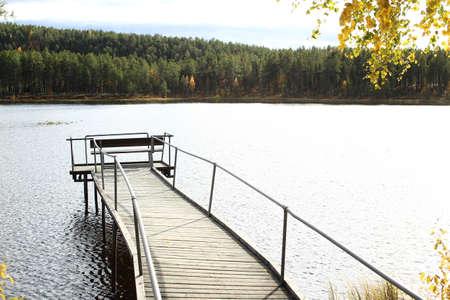 Bent pier on lake Talvatissjon in Jokkmokk.