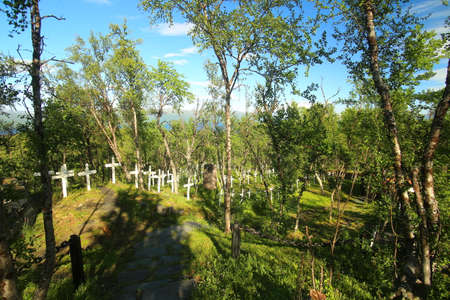 Tornehamns kyrkogard, a navvy cemetery in northern Sweden. 写真素材