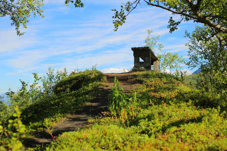 A bench in the shade on a small hill near Tornehamn, Lapland.