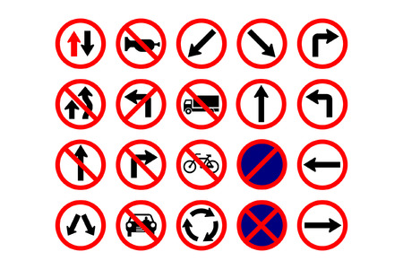 restricted icon: traffic signs collection Illustration
