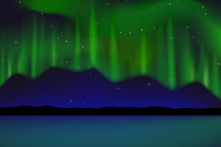 ionosphere: north sea with green aurora Illustration
