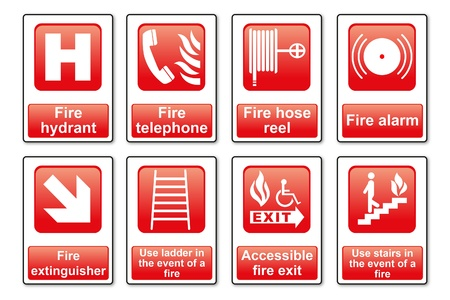 fire fighting equipment: Fire Equipment signs Illustration