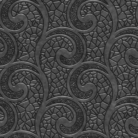Metal seamless texture with swirls pattern,  3d illustration