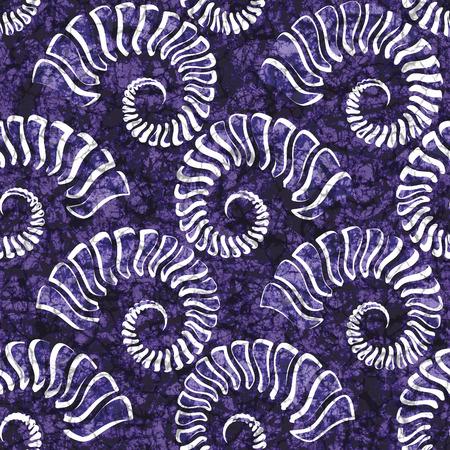 Batik seamless texture with shells