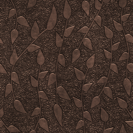 Copper seamless texture with pattern, 3d illustration Imagens