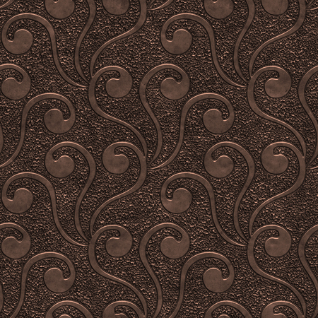 Copper seamless texture with swirls pattern, 3d illustration Imagens