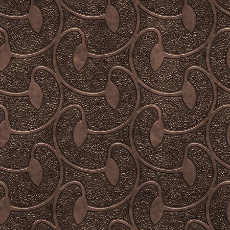 Koper naadloze textuur met wervelingenpatroon, 3d illustratie